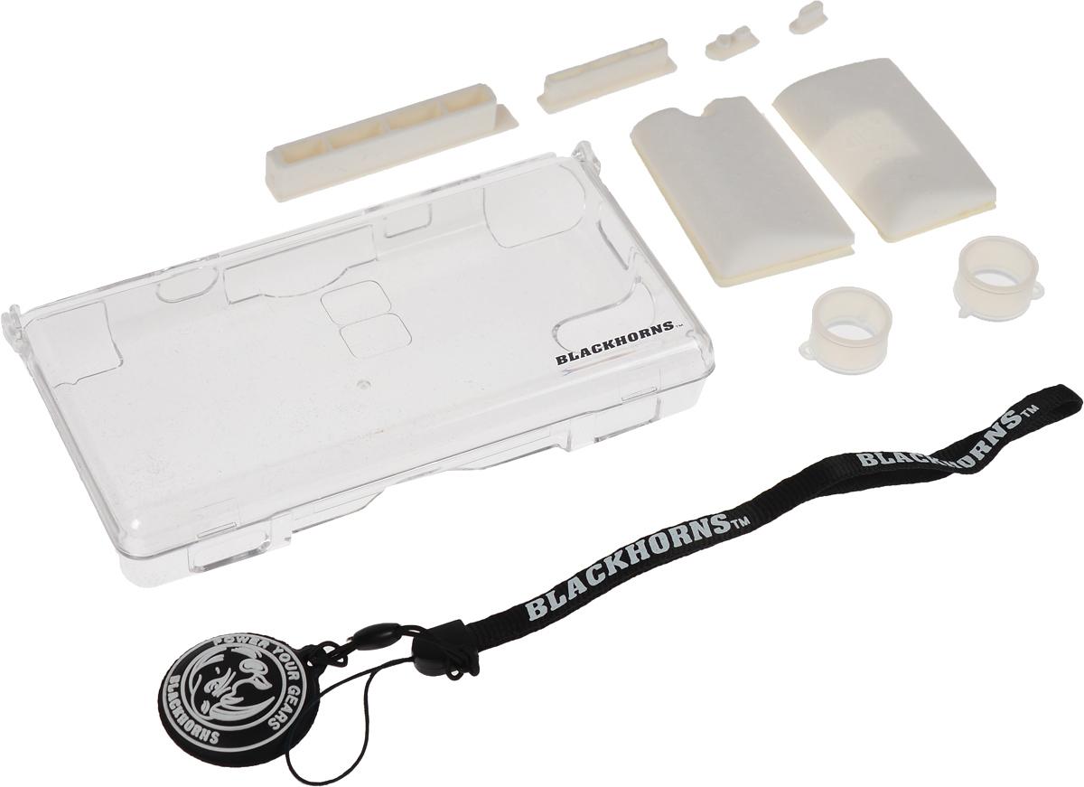 Black Horns Substantiality Kit, White набор аксессуаров для Nintendo DS LiteBH-DSL09616_белыйНабор аксессуаров Black Horns Substantiality Kit для приставки Nintendo DS Lite. В комплекте: Защитный пластиковый корпус из прочного поликарбоната. Обеспечит защиту вашей приставке и убережет ее от царапин и сколов. Удобный ремешок на руку с очищающей подушечкой. Экран вашей приставки всегда будет оставаться чистым. 4 пылезащитные резиновые заглушки предотвратят попадание пыли и влаги в разъемы консоли. 2 силиконовых стилуса для пальцев. С ними играть в приставку станет ещё удобнее. 2 силиконовых накладки обеспечат удобство вашим рукам.