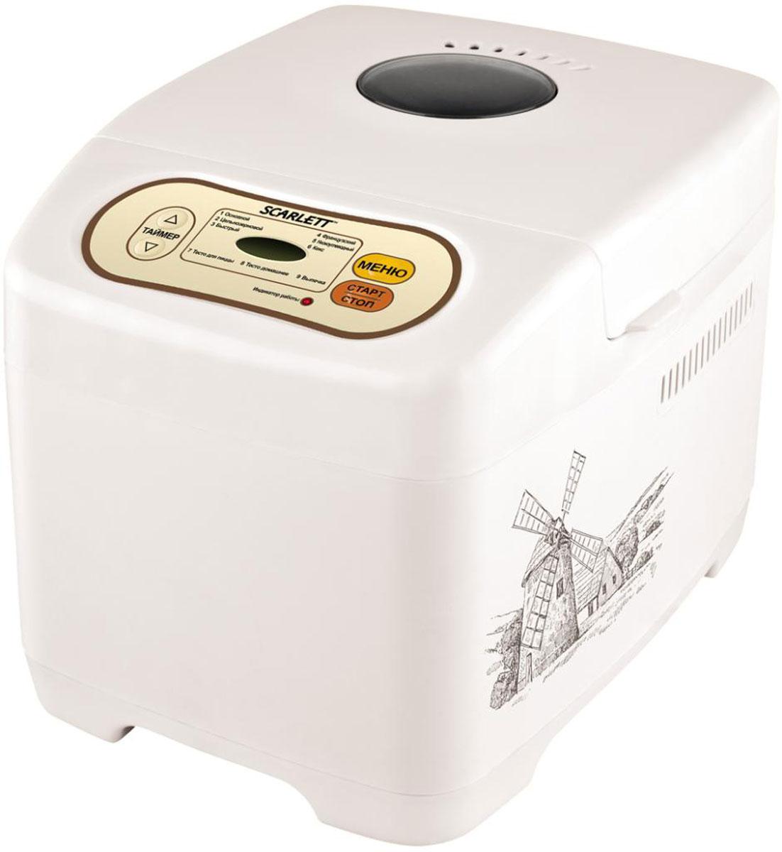 Scarlett SC-BM40002, White хлебопечьSC-BM40002Ваша личная хлебопекарня Scarlett SC-BM40002 удивит и порадует даже самых взыскательных кулинаров. Разнообразные программы выпекания и функция приготовления теста сделают ваш хлеб по-настоящему оригинальным. 9 автоматических режимов приготовления, окошко для контроля за процессом, поддержание температуры до 60 минут, а также функция памяти до 15 минут при сбое электропитания и отсрочка приготовления до 13 часов сделают этот прибор отличным дополнением вашей кухни!