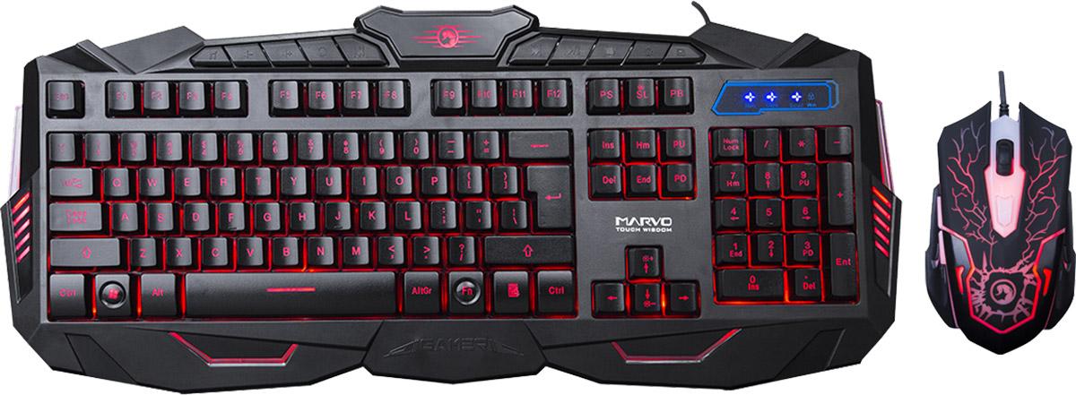 Marvo KM400, Black игровая клавиатура + мышьKM400Marvo KM400 - игровой беспроводной комплект, который состоит из клавиатуры с подсветкой и мультимедиа - клавишами, а также шестикнопочной оптической мыши. Этот комплект безусловно понравится любому геймеру и займет достойное место на компьютерном столе. Длина хода клавиш клавиатуры: 3,6±0,3 мм Ресурс кнопок клавиатуры: 5 миллионов нажатий Сила нажатия (клавиатура): 50±15 г Ресурс кнопок мыши: 3 миллиона нажатий