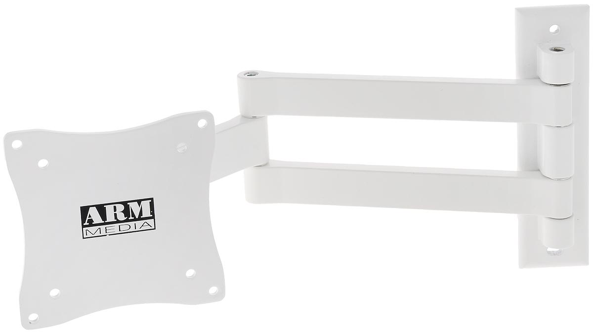 Arm Media LCD-7101, White кронштейн для ТВLCD-7101Наклонно-поворотный настенный кронштейн Arm Media LCD-7101 для LCD мониторов с диагональю 10-26 и весом до 15 кг.