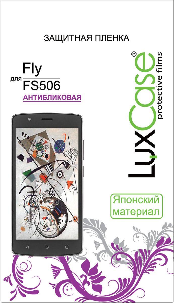 LuxCase защитная пленка для Fly FS506, антибликовая50572Защитная пленка LuxCase для сохраняет экран смартфона гладким и предотвращает появление на нем царапин и потертостей. Структура пленки позволяет ей плотно удерживаться без помощи клеевых составов и выравнивать поверхность при небольших механических воздействиях. Пленка практически незаметна на экране смартфона и сохраняет все характеристики цветопередачи и чувствительности сенсора.
