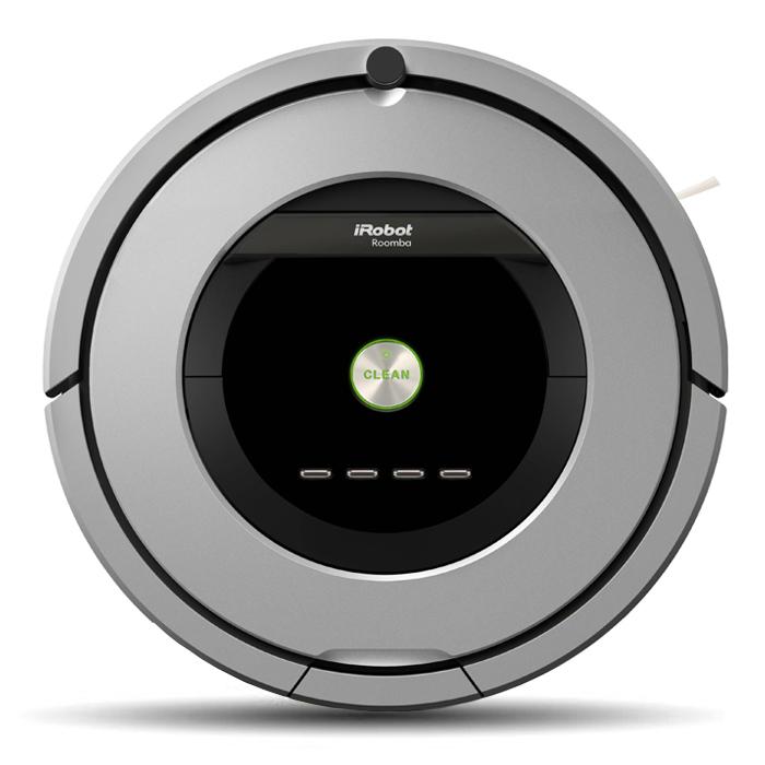 iRobot Roomba 886, Grey робот-пылесосR886Roomba 886 – последняя новинка в семействе роботов Roomba. В Roomba 800 серии реализована передовая система сбора мусора и грязи AeroForceTM . Для пользователя это означает: робот убирается еще тщательнее, а обслуживание чистящего модуля стало совсем легким. Roomba 886 комплектуется аккумулятором повышенной емкости с увеличенным вдвое ресурсом. Контейнер мусоросборника оснащен HEPA-фильтром. Roomba 886 с инновационной системой сбора мусора и грязи AeroForceTM , которая сочетает сразу 2 технологические находки: Вместо традиционных щетинистых щеток используются резиновые валики с ребрами-скребками, которые эффективно оттирают присохшую грязь с твердых покрытий, приподнимают ворс ковров, захватывают с поверхности пола пыль, песок, мусор, шерсть, волоски и отправляют их в мусоросборник. Эта технология предотвращает наматывание волос и шерсти животных на валики. Вакуумный канал с превосходной герметичностью обеспечивает отличную эффективность всасывания с поверхности пола:...