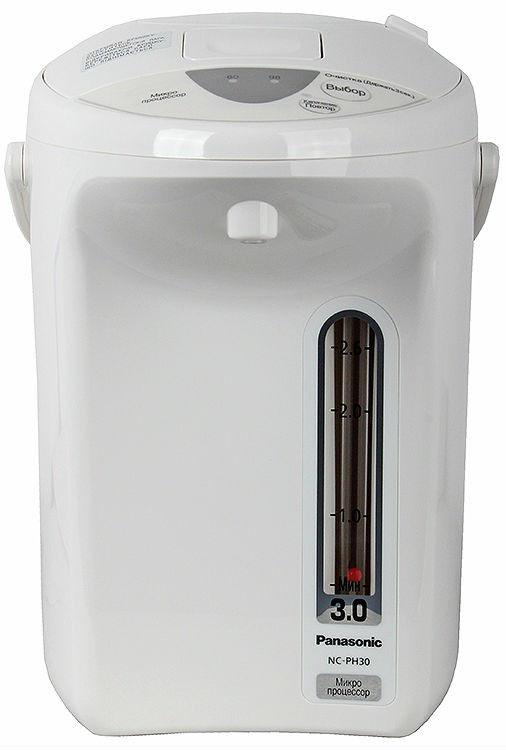 Panasonic NC-PH30ZTW термопотNC-PH30ZTWТермопот Panasonic NC-PH30ZTW сочетает в себе функции чайника и термоса, он кипятит воду и в дальнейшем поддерживает её температуру длительное время на заданном уровне. Благодаря теплоизоляционной панели, прибор не нагревается снаружи и надолго сохраняет заданные свойства воды.