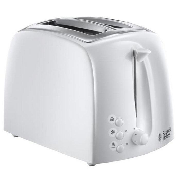 Russell Hobbs 21640-56, White тостер электрический21640-56Тостер Russell Hobbs 21640-56 сочетает в себе качество и уникальный стиль, воплощенные в корпусе из комбинированного глянцевого и матового белого пластика, а функциональность не останется недооцененной. Широкие и длинные слоты позволяют поджаривать и багеты, и толстые ломтики хлеба, подогревать сдобные пышки и сохранять горячими тосты, круассаны и булочки бриошь. Если вы предпочитаете слегка подрумяненные тосты, а кто-то из вашей семьи наоборот любит хорошо поджаренный хрустящий хлеб, функция регулировки степени поджаривания гарантирует превосходно приготовленные тосты под любой вкус. Кроме функций Остановки приготовления и Разогрева, тостер Textures оснащен функцией размораживания, с помощью который вы можете готовить свежайшие тосты из замороженного хлеба. Не только функциональность, но и внешний дизайн делают тостер Russell Hobbs 21640-56 особенным. Сочетание матовых и глянцевых поверхностей с хромированными элементами корпуса тостера...