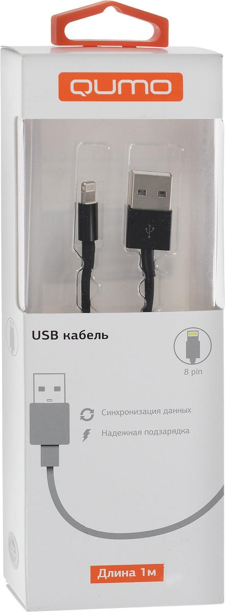 QUMO кабель USB-Apple 8pin круглый, Black (1 м)20527Высококачественный кабель QUMO USB-Apple 8pin для надежной подзарядки и синхронизации данных iPhone/iPad/iPod с разъемом Lightning.