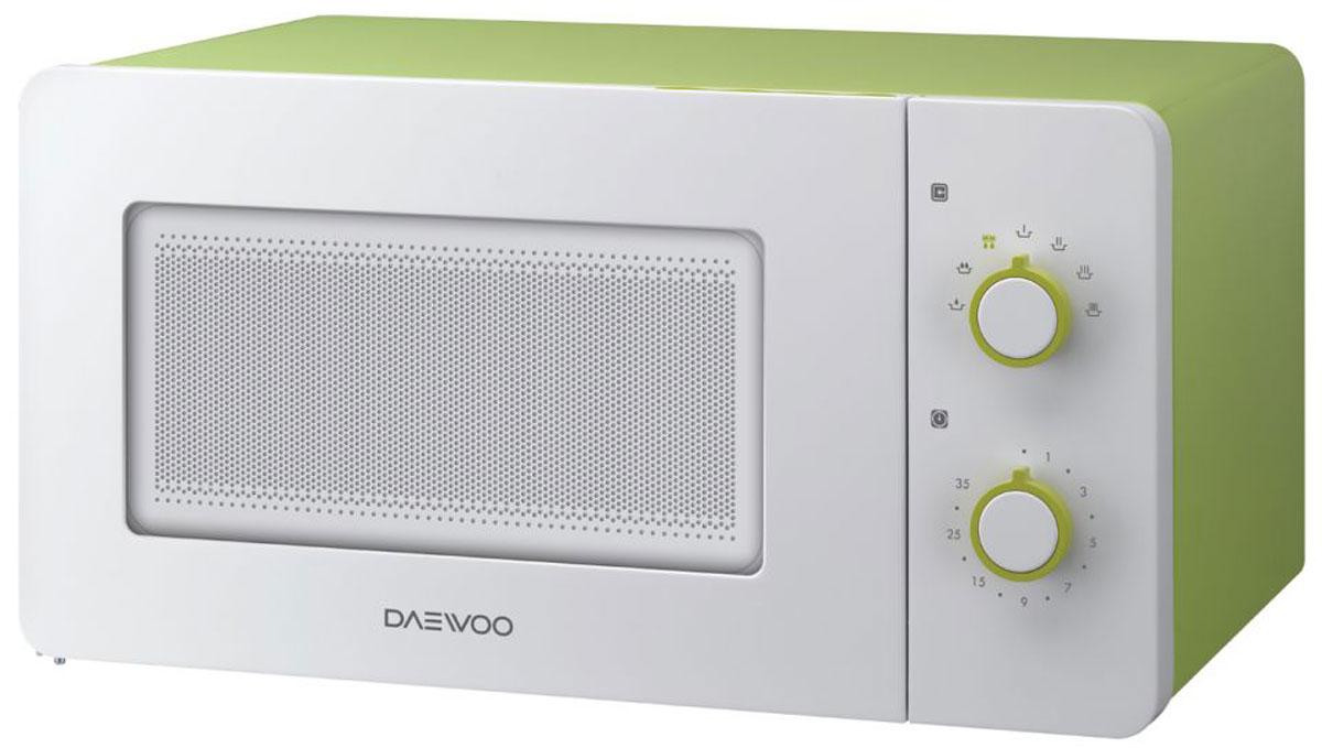 Daewoo KOR-5A17, White Green СВЧ-печьKOR-5A17Микроволновая печь Daewoo KOR-5A17 с механическим типом управления, объемом 15 л., с выходной мощностью 500 Вт имеет самый компактный размер, а также представлена в ярком цветовом решении. Модель оснащена встроенной системой Diamond, с помощью которой у вас легко получится равномерно приготовить и разморозить различные блюда. Внутреннее покрытие задней стенки микроволновой печи в форме 11 бриллиантов позволяет равномерно готовить и размораживать еду. Рельеф в форме бриллиантов направляет волны таким образом, что еда прогревается равномерно по всей высоте и внутри.