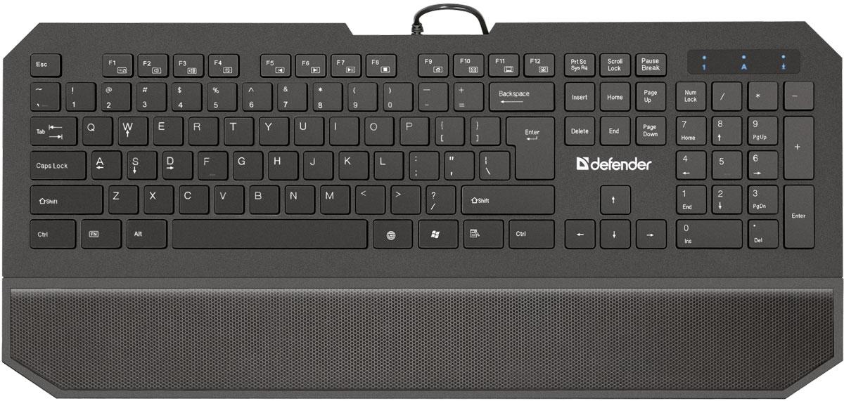 Defender Oscar SM-600 Pro RU, Black проводная клавиатура45602Клавиатура Defender Oscar SM-600 Pro RU имеет набор специальных игровых функций: блокировка системных клавиш Windows и переключение стрелок курсора на кнопки WASD. Для блокировки системных клавиш: нажмите и удерживайте клавишу Fn, затем нажмите клавишу Windows - системные клавиши заблокируются. Чтобы разблокировать клавиши, повторите действие. Для переключения клавиш W, A, S, D в игровой режим просто нажмите и удерживайте_ Fn, одновременно нажмите_W. Клавиши W, A, S, D перейдут в режим стрелок. Отличительная особенность устройства - увеличенная площадь клавиш-модификаторов (Ctrl, Shift), клавиш Enter и BackSpace. Клавиша LNG предназначена для удобства для смены языка одним нажатием. Разделенные клавиши высотой всего 2 мм и встроенная подставка под запястья позволят вам долгое время работать, не ощущая усталости. 12 дополнительных функций активируются клавишей FN.
