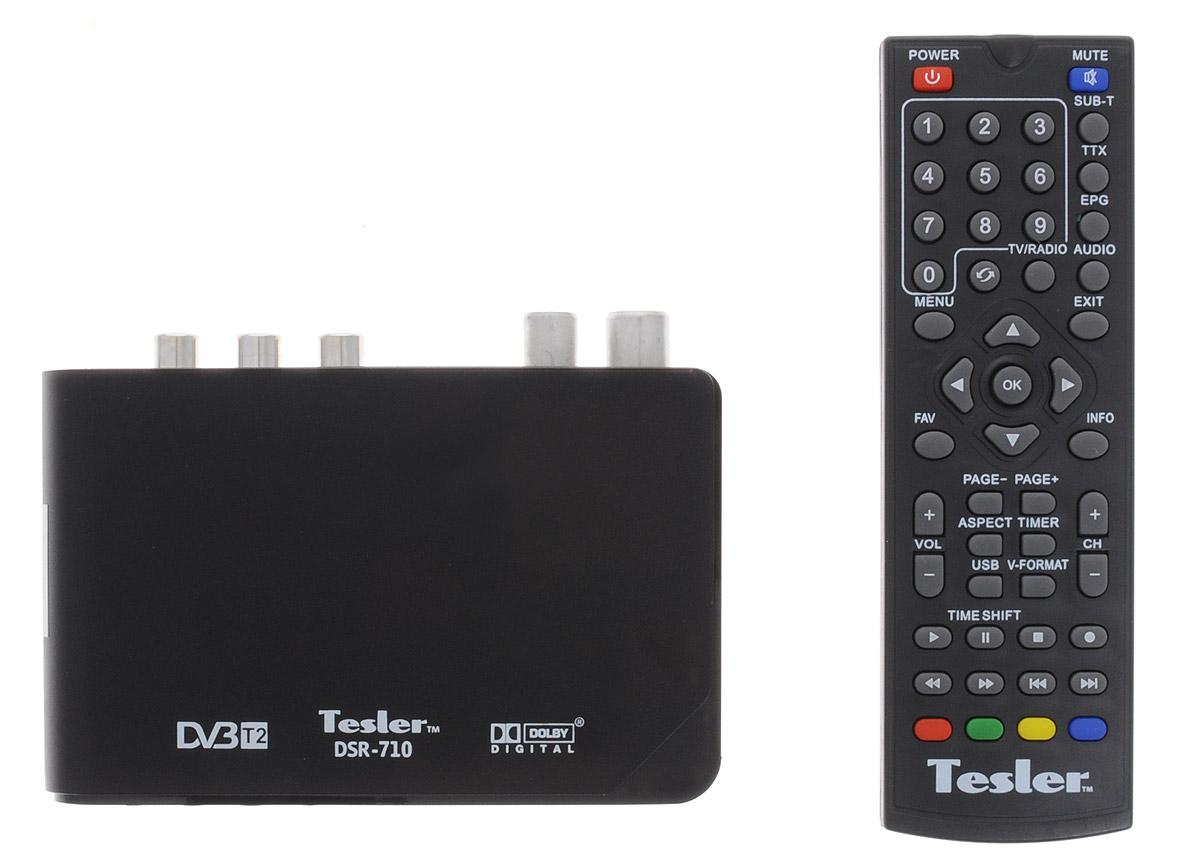 Tesler DSR-710 цифровой телевизионный ресивер DVB-T/T20291659Tesler DSR-710 - цифровой телевизионный ресивер с поддержкой цифровых стандартов DVB-T и DVB-T2. В данной модели реализована поддержка HD-разрешений 480p, 576p, 720p, 1080i, 1080p, а также множества аудио- и видеоформатов. Также присутствуют функции телегида, цифрового радио и PVR. Ресивер поддерживает телетекст и субтитры. Имеется возможность обновления программного обеспечения устройства. Система цвета: PAL / NTSC Чипсет: ALIi3812 ALAA Тюнер: Sony CXD2861ER Модуляция: QPSK/16QAM/64QAM Входной поток: До 48 Мбит/с Уровень сигнала: 15-70 дБм