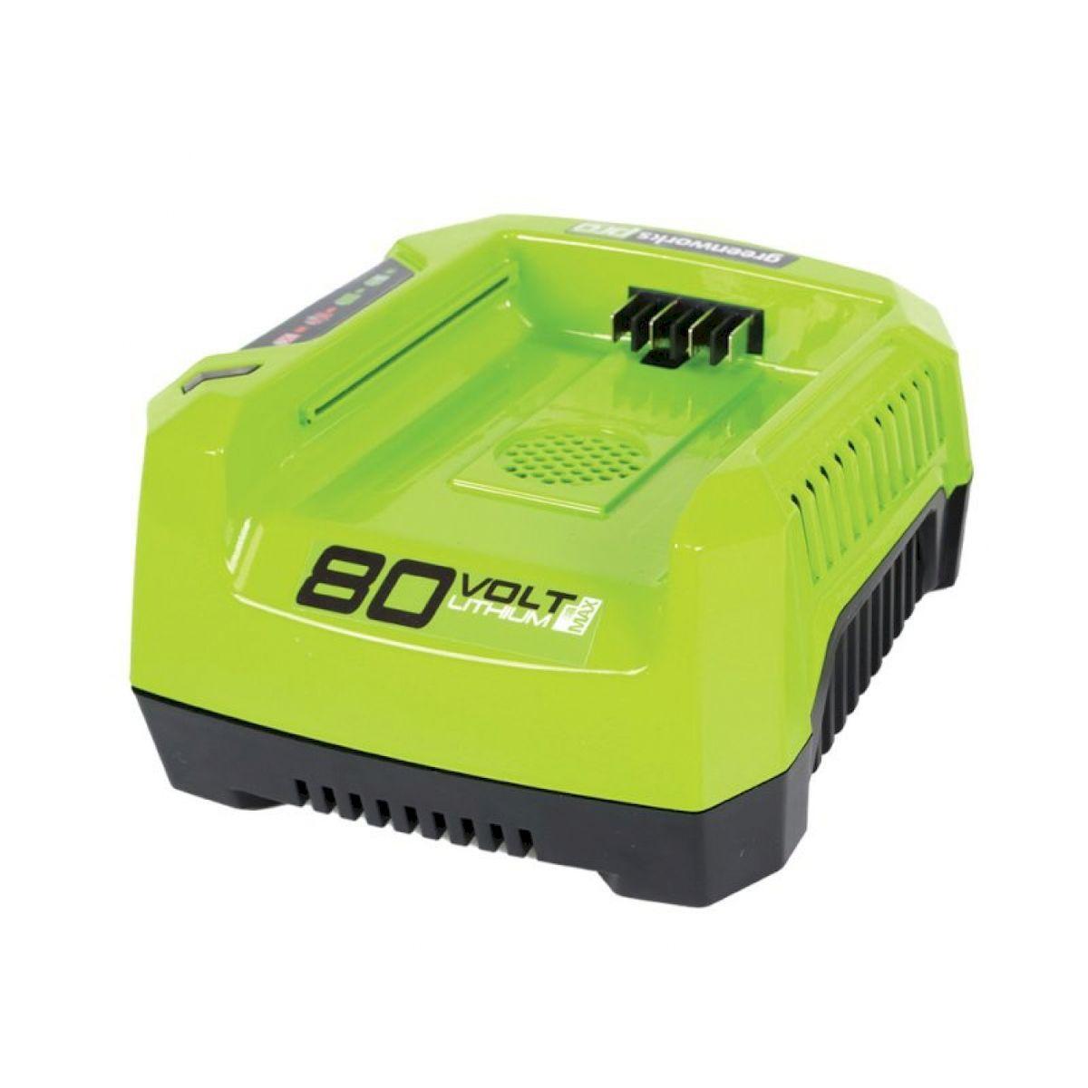 Зарядное устройство GreenWorks 80В2902507Уникальная сверхмощная аккумуляторная система 80В 80V PRO Питание 220 В Время зарядки аккумулятора 80В 2 А/ч 28 мин Время зарядки аккумулятора 80В 4 А/ч 56 мин