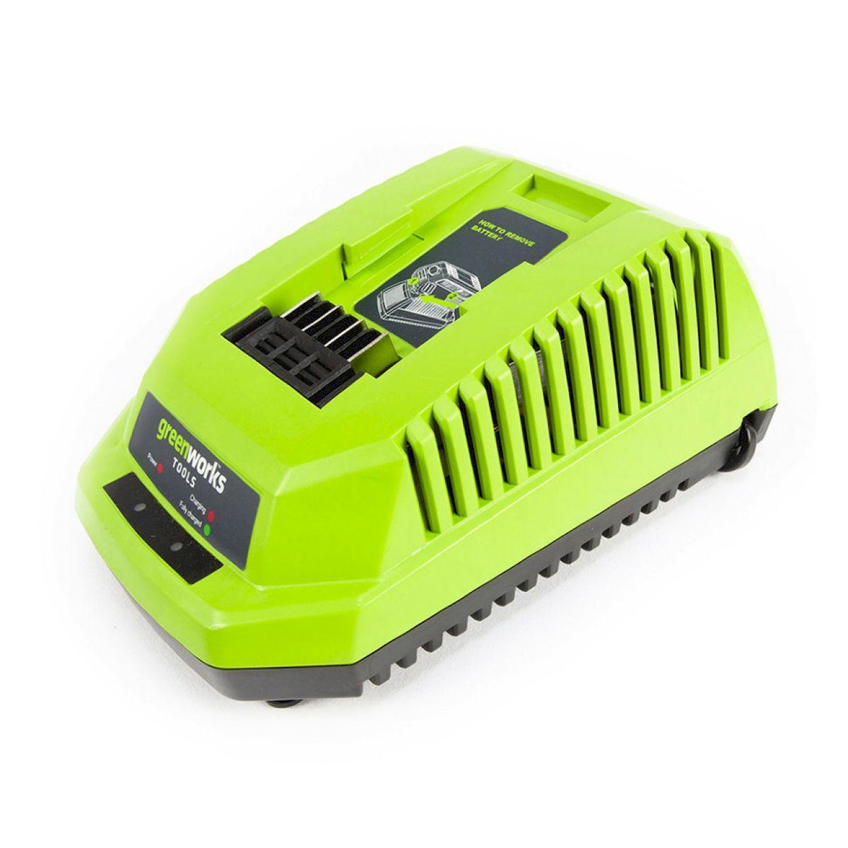 Зарядное устройство GreenWorks 40В29417Сверхмощная аккумуляторная система 40В G-MAX40 Питание 220 В Время зарядки аккумулятора 40В 2 А/ч 40 мин Время зарядки аккумулятора 40В 4 А/ч 80 мин