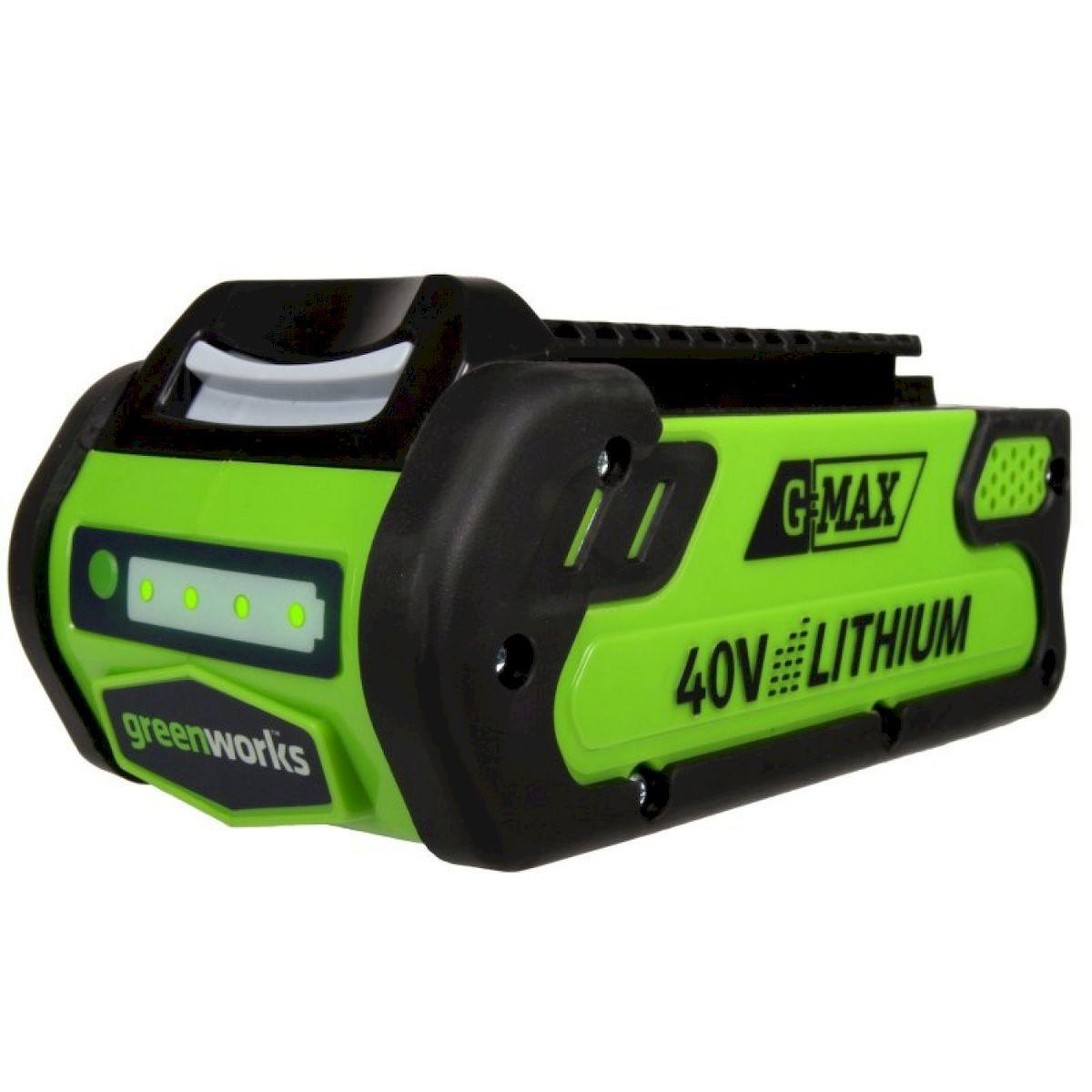 Литий-Ионная аккумуляторная батарея GreenWorks 40В 2Аh29717Сверхмощная аккумуляторная система 40В G-MAX40 Емкость аккумулятора 2 А/ч Время зарядки аккумулятора 40 мин Рабочий температурный режим до -20С Большое количество циклов зарядки-разрядки Совместим со всей линейкой инструмента и садовой техники Greenworks 40В G-MAX40