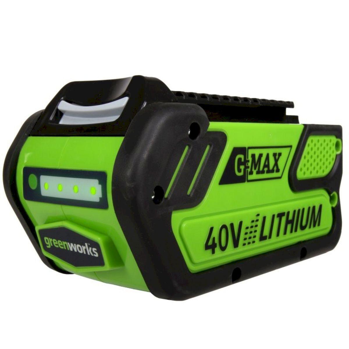 Литий-Ионная аккумуляторная батарея GreenWorks 40В 4Аh29727Сверхмощная аккумуляторная система 40В G-MAX40 Емкость аккумулятора 4 А/ч Время зарядки аккумулятора 80 мин Рабочий температурный режим до -20С Большое количество циклов зарядки-разрядки Совместим со всей линейкой инструмента и садовой техники Greenworks 40В G-MAX40
