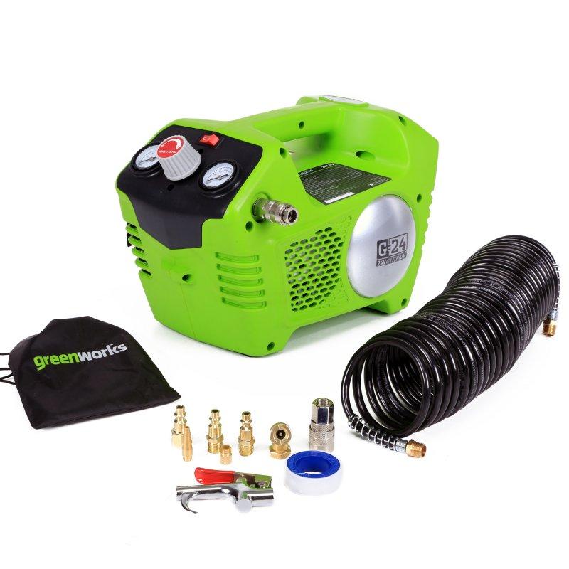 Компрессор GreenWorks 24В4100302Аккумуляторная система 24В G24 Безмасляный Объем ресивера 2 л Макс. давление 8 бар Быстроразъемное соединение штуцеров Работает с аккумуляторами Greenworks G24 (арт. 2902707, 2902807) и зарядным устройством G24С (арт. 2903607) Гарантия 2 года