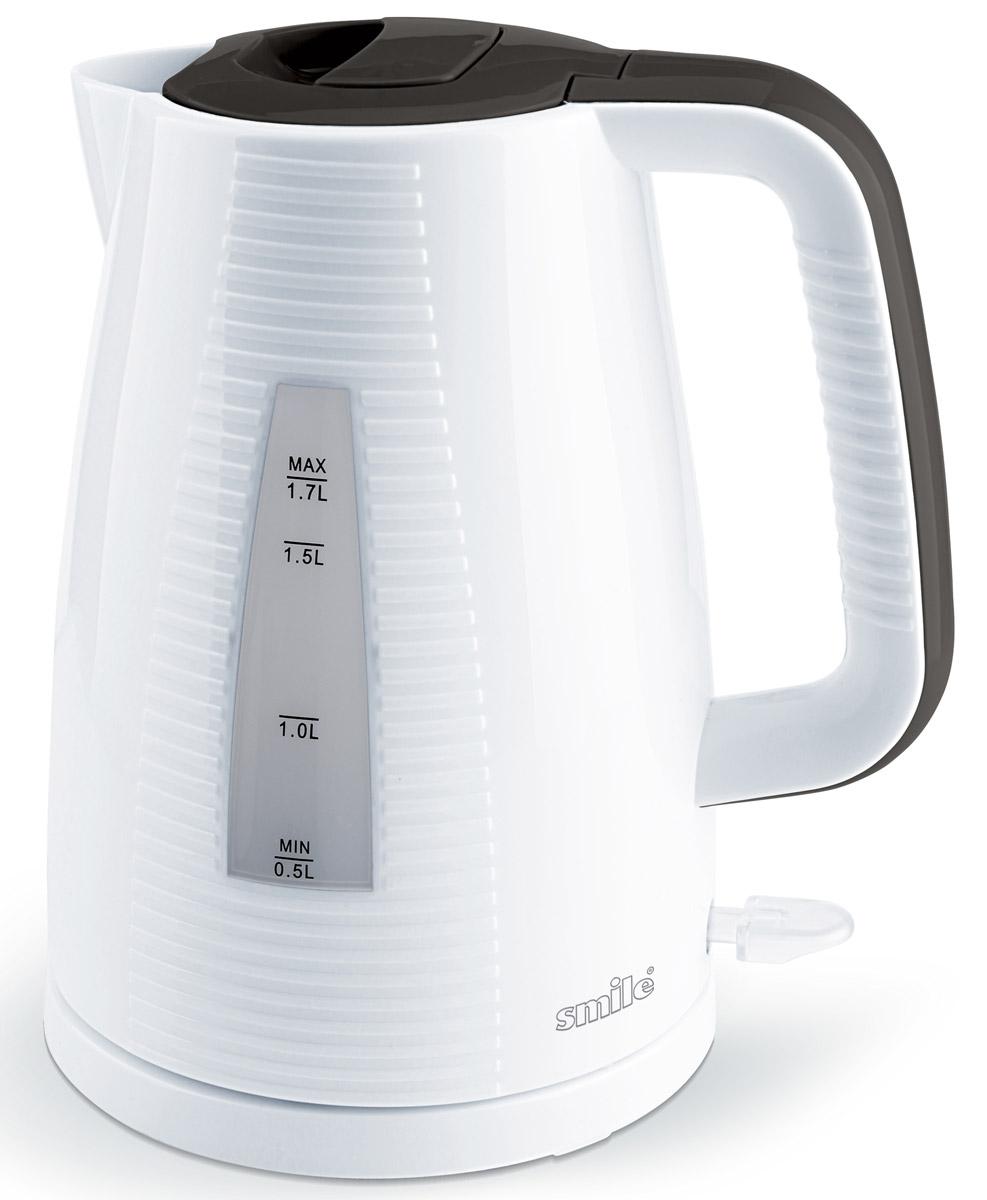 Smile WK 5303, White Grey электрочайникWK 5303Электрочайник Smile WK 5303 изготовлен из прочного термостойкого пластика. Внутри прибора находится скрытый нагревательный элемент. Подставка позволяет производить вращение чайника на 360 градусов. Данная модель позволит быстро вскипятить до 1,7 литра воды благодаря мощности 2200 Вт.