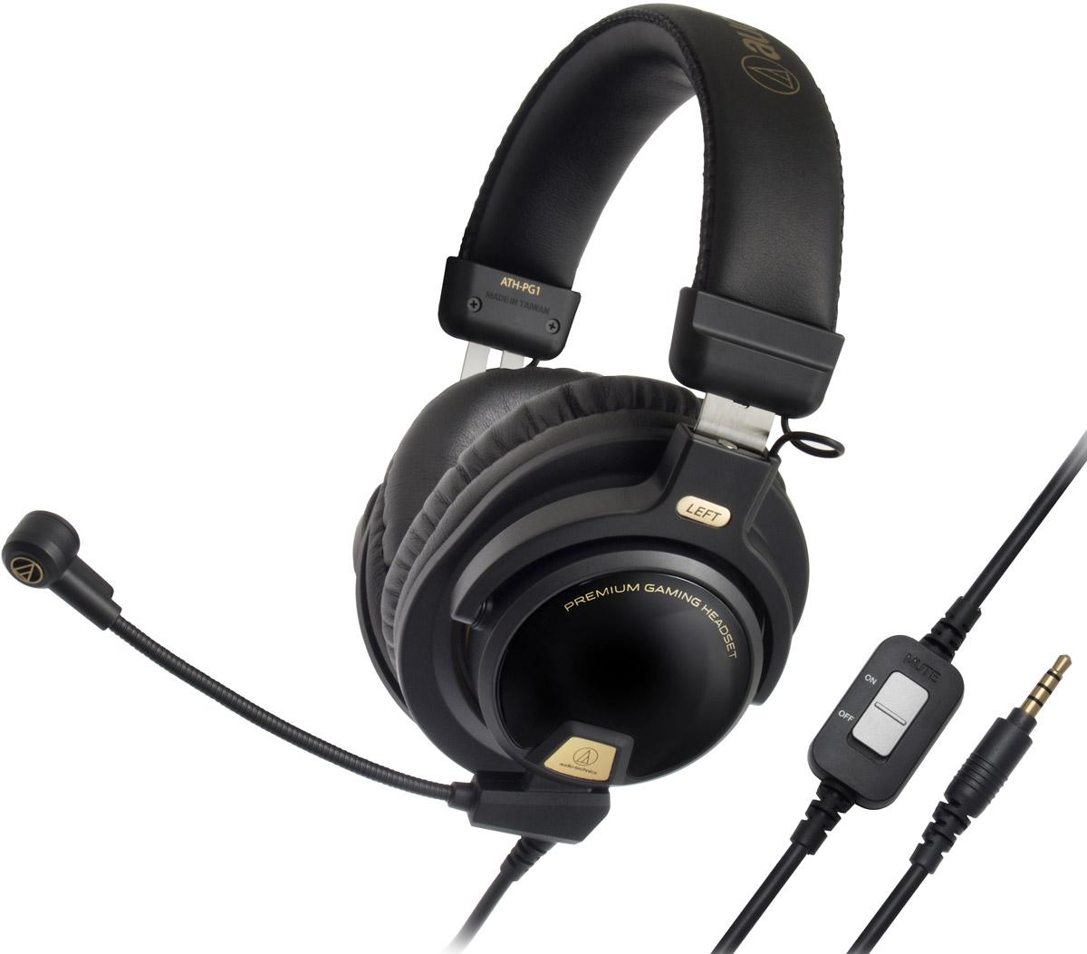 Audio-Technica ATH-PG1 игровые наушники15118120Audio-Technica ATH-PG1 – домашняя гарнитура закрытого типа для компьютерных игр, телефонии и прослушивания музыки. Большие 44-мм драйверы обеспечивают мощный, живой звук и подчеркивают каждую акустическую деталь игрового окружения. Гарнитура изготовлена из легких материалов, она имеет мягкие кожаные оголовье и амбушюры, что позволяет комфортно играть длительное время. ATH-PG1 имеет съёмный кабель, в комплекте идут три шнура, в том числе с микрофонами для смартфонов и для игр. Игровой микрофон выполнен на гибкой ножке и сочетается с функцией отключения звука и управления громкостью. Кристально чистая голосовая связь обеспечена! Живой звук Мягкая кожа и лёгкие материалы обеспечивают комфорт и свободу в использовании Узконаправленный микрофон на гибкой ножке Функция отключения звука и управления громкостью микрофона
