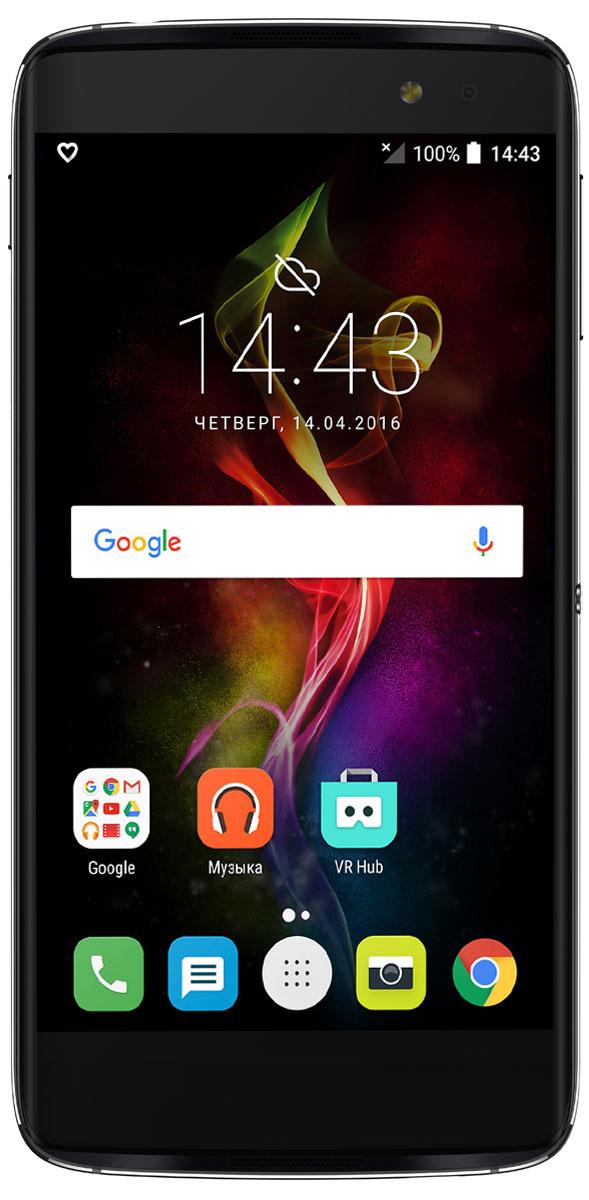 Alcatel OT-6070K Idol 4S, Dark Grey6070K-2CALRU7Благодаря уникальной клавише БУМ Alcatel Idol 4S предлагает вам новый уровень возможностей. Устройство обладает стильным дизайном, мощным объемным звуком, превосходным экраном и реверсивным интерфейсом, а также камерами, обеспечивающими высококачественный уровень съемки. Нажмите на клавишу БУМ, чтобы расширить возможности смартфона и получить новый опыт. Делайте фото быстрее, экран - ярче, а звук - мощнее, делитесь изображениями, запускайте трансляцию видео и не только! Делайте мгновенное фото в режиме ожидания или целую серию снимков продолжительным нажатием клавиши. Создавайте произвольные композиции из ваших снимков и мгновенно делитесь ими с друзьями. Снимайте видео в высоком качестве и осуществляйте его трансляцию в социальные сети в реальном времени. Наслаждайтесь впечатляющим трехмерным эффектом, отображающим погодную анимацию на экране смартфона на основе реальных данных. Всего одного нажатия клавиши БУМ достаточно для запуска нитро двигателя и...