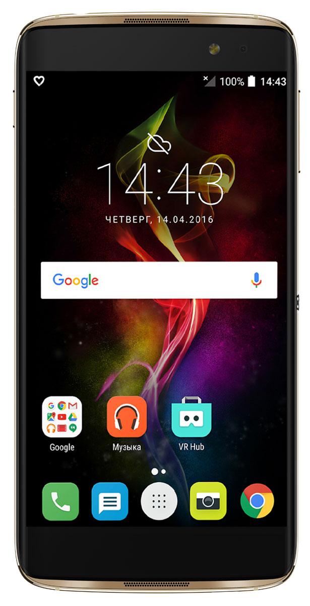Alcatel OT-6070K Idol 4S, Gold6070K-2BALRU7Благодаря уникальной клавише БУМ Alcatel Idol 4S предлагает вам новый уровень возможностей. Устройство обладает стильным дизайном, мощным объемным звуком, превосходным экраном и реверсивным интерфейсом, а также камерами, обеспечивающими высококачественный уровень съемки. Нажмите на клавишу БУМ, чтобы расширить возможности смартфона и получить новый опыт. Делайте фото быстрее, экран - ярче, а звук - мощнее, делитесь изображениями, запускайте трансляцию видео и не только! Делайте мгновенное фото в режиме ожидания или целую серию снимков продолжительным нажатием клавиши. Создавайте произвольные композиции из ваших снимков и мгновенно делитесь ими с друзьями. Снимайте видео в высоком качестве и осуществляйте его трансляцию в социальные сети в реальном времени. Наслаждайтесь впечатляющим трехмерным эффектом, отображающим погодную анимацию на экране смартфона на основе реальных данных. Всего одного нажатия клавиши БУМ достаточно для запуска нитро двигателя и...