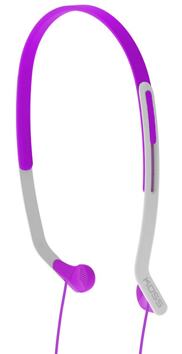 Koss KPH14, Violet наушники15118067Koss KPH14 - это вертикальные наушники для занятий спортом с комфортным регулируемым оголовьем. Отличаются особо лёгкой конструкцией и устойчивостью к влаге. Наушники пропускают внешние звуки, что позволяет контролировать ситуацию в тренажерном зале, на улице, в транспорте и чувствовать себя совершенно безопасно.