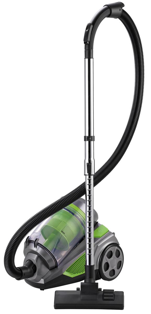 Sinbo SVC 3467, Green пылесосSVC 3467Пылесос Sinbo SVC-3467 с циклоническим фильтром станет хорошим помощником в уборке по дому. Прибор имеет стильный футуристический дизайн, а также оснащен большими прорезиненными колесами. Хорошая мощность всасывания 340 Вт и пластиковый контейнер объемом 3 л обеспечивают эффективную ежедневную сухую уборку в небольшом помещении. В зависимости от типа покрытия можно регулировать силу всасывания с помощью кнопки на корпусе. Контейнер легко вынимается и моется. Удобная телескопическая трубка пылесоса в сочетании с большим количеством специальных насадок позволят очистить даже труднодоступные места. Комфортность уборки повышают наличие ножного переключателя и автоматическое сматывание электрического шнура. Благодаря большим резиновым колесам пылесос легко перемещать, не боясь испортить пол или мебель.