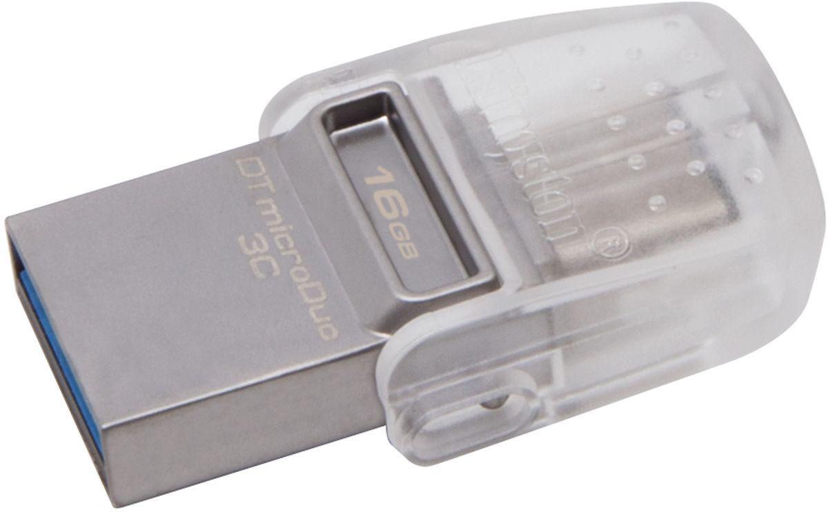 Kingston DataTraveler microDuo 3C 16GB USB-накопительDTDUO3C/16GBKingston DataTraveler microDuo 3C имеет двойной интерфейс, поддерживающий стандартные порты USB и USB Type- C. Это идеальное решение для того, чтобы предоставить до 64 ГБ дополнительного пространства для современных смартфонов, планшетов, ПК и компьютеров Mac с ограниченным количеством разъемов расширения. Кроме того, это проще, чем передача файлов через онлайновые сервисы. Накопитель не требует настройки при подключении, имеет высокую скорость (до 100 МБ/с для чтения и до 15 МБ/с для записи) и оснащен поворотным колпачком для защиты двустороннего разъема USB Type-C. Интерфейс USB 3.13 обеспечивает скорость до 100МБ/с для чтения и до 15МБ/с для записи, чтобы вам не приходилось долго ждать при передаче объемных файлов. Для обеспечения дополнительной уверенности накопители DataTraveler microDuo 3C имеют пятилетнюю гарантию, бесплатную техническую поддержку и отличаются легендарной надежностью Kingston Kingston DataTraveler microDuo 3C...