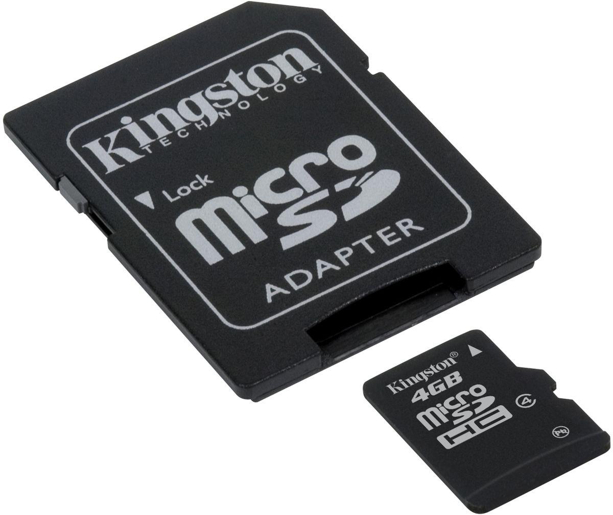 Kingston microSDHC Class 4 4GB карта памяти с адаптеромSDC4/4GBКарты microSDHC позволяют хранить большие объемы музыки, видео, изображений, игр в современных мобильных устройствах. Флэш-карты microSDHC относятся к 4 скоростному классу, т.е. максимальная скорость передачи данных составляет 4 Мб/с. По размерам карты microSDHC совпадают с картами microSD, но совместимы только с устройствами, поддерживающими стандарт microSDHC в соответствии со спецификацией SD Specification Version 2.0. Карты microSDHC можно использовать с адаптером как полноразмерные карты SDHC. Внимание: перед оформлением заказа, убедитесь в поддержке вашим электронным устройством карт памяти данного объема.