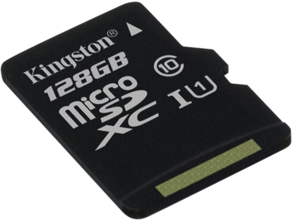 Kingston microSDXC Class 10 UHS-I 128GB карта памяти (45/10 Мб/с)SDC10G2/128GBSPКарта памяти Kingston microSDXC Class 10 UHS-I поможет вам в увеличении объема памяти мобильных телефонов, смартфонов, планшетов и других портативных устройств. Данная модель имеет все основные защитные функции от Kingston: водонепроницаемый корпус, ударостойкость и виброустойчивость, защиту от рентгеновских аппаратов в аэропортах и экстремальных температур.