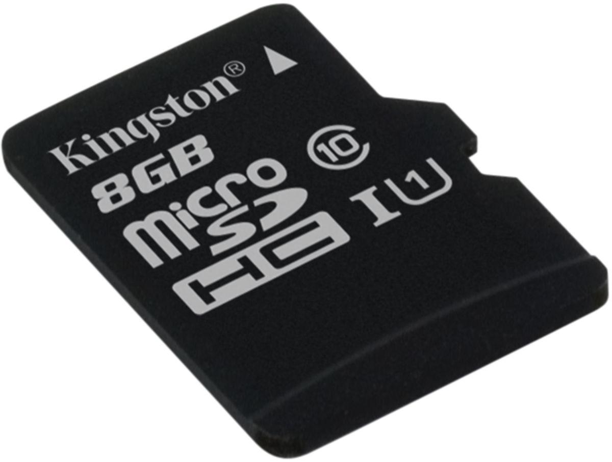 Kingston microSDHC Class 10 UHS-I 8GB карта памяти (45/10 Мб/с)SDC10G2/8GBSPКарта памяти micro SDHC Kingston, 8 Гб, Class 10 U1 UHS-I, чтение: 45Мб/с, запись: 10Мб/с, без адаптера