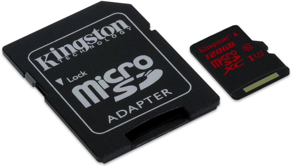 Kingston microSDXC Class 10 U3 UHS-I 128GB карта памяти с адаптеромSDCA3/128GBКарта памяти Kingston microSDXC Class 10 U3 UHS-I поможет вам в увеличении объема памяти мобильных телефонов, смартфонов, планшетов и других портативных устройств с поддержкой microSDXC. Она также отлично подходит для серийной фотосъемки и записи видео в формате 4К. Данная модель имеет все основные защитные функции от Kingston: водонепроницаемый корпус, ударостойкость и виброустойчивость, защиту от рентгеновских аппаратов в аэропортах и экстремальных температур.
