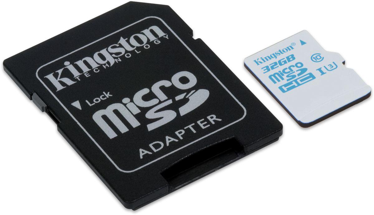 Kingston microSDHC Action Camera Class 10 U3 UHS-I 32GB карта памяти с адаптеромSDCAC/32GBКарта памяти Kingston microSDHC Action Camera Class UHS-I U3 обеспечивает невероятную скорость работы (90 МБ/с для чтения и 45 МБ/с для записи) для съемки всех самых важных мгновений жизни. Водонепроницаемая, ударостойкая, виброустойчивая, защищенная от рентгеновского излучения и экстремальных температур карта памяти microSD Action Camera UHS-I U3 совместима с большинством экшн-камер,камер GoPro и дронов. Воспользуйтесь преимуществами повышенной скорости загрузки и записи, а также преимуществами увеличенной средней скорости записи. Емкость от 16 ГБ до 64 ГБ.