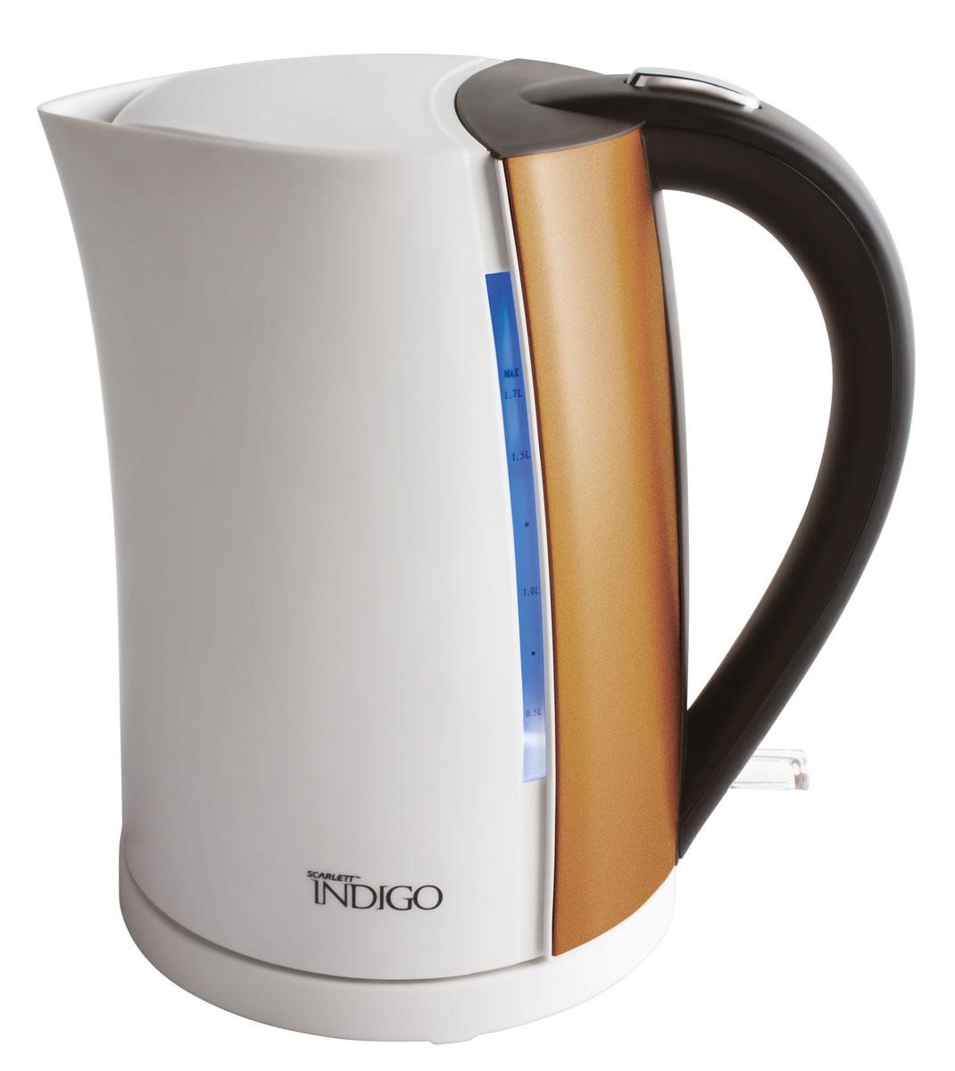 Scarlett IS-EK20P01, White Bronze чайник электрическийIS-EK20P01В чайнике Scarlett IS-EK20P01 мощностью 2200 Ватт и объемом 1,7 литра каждая деталь разработана для удобства пользования и безопасности. С помощью световой индикации чайник сообщает о режиме работы, корпус может вращаться на подставке на 360 градусов, что позволяет использовать его из любого положения, а многоразовый фильтр для воды позволит избежать попаданию накипи в чашку.