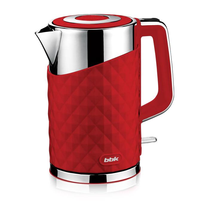 BBK EK1750P, Red электрический чайникEK1750P красныйСовременный электрический чайник BBK EK1750P имеет мощность 2200 Вт и емкость 1,7 литра. Контроллер английской фирмы Otter обеспечивает бесперебойную и долговременную эксплуатацию устройства. Особенностью модели являются двойные стенки колбы, за счет чего обеспечивается бесшумное закипание, безопасное прикосновение и долговременное сохранение высокой температуры воды. Чайник установлен на удобной подставке с возможностью поворота на 360° и с отделением для хранения шнура. Скрытый нагревательный элемент, удобный носик для наливания и шкала уровня воды обеспечат комфортное ежедневное использование.