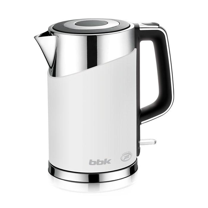 BBK EK1750P, White электрический чайникEK1750P белыйСовременный электрический чайник BBK EK1750P имеет мощность 2200 Вт и емкость 1,7 литра. Контроллер английской фирмы Otter обеспечивает бесперебойную и долговременную эксплуатацию устройства. Особенностью модели являются двойные стенки колбы, за счет чего обеспечивается бесшумное закипание, безопасное прикосновение и долговременное сохранение высокой температуры воды. Чайник установлен на удобной подставке с возможностью поворота на 360° и с отделением для хранения шнура. Скрытый нагревательный элемент, удобный носик для наливания и шкала уровня воды обеспечат комфортное ежедневное использование.