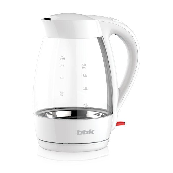 BBK EK1790G, White электрический чайникEK1790G белыйЭлектрический чайник BBK EK1790G надежен, прост в применении и имеет лаконичный дизайн. Корпус выполнен из закаленного стекла, объем 1,7 л, мощность 2200 Вт. Прибор снабжен многоуровневой защитой, фильтром от накипи и суперконтроллером Strix, благодаря чему срок службы увеличен в 5 раз. Чайник расположен на удобной подставке с возможностью поворота на 360° и с отделением для хранения шнура, также для удобства эксплуатации предусмотрена кнопка открывания крышки.