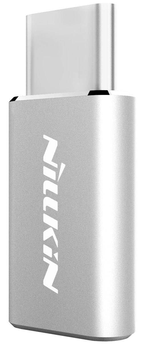 Nillkin адаптер microUSB->Type-C, Silver874004Y0417Переходник Nillkin MicroUSB - Type-C обеспечивает совместимость устройств с разъемом Type-C с кабелем MicroUSB. Теперь вы всегда сможете подзарядить свой гаджет или произвести синхронизацию данных. Алюминиевый корпус гарантирует надежность, износостойкость и длительный срок службы.