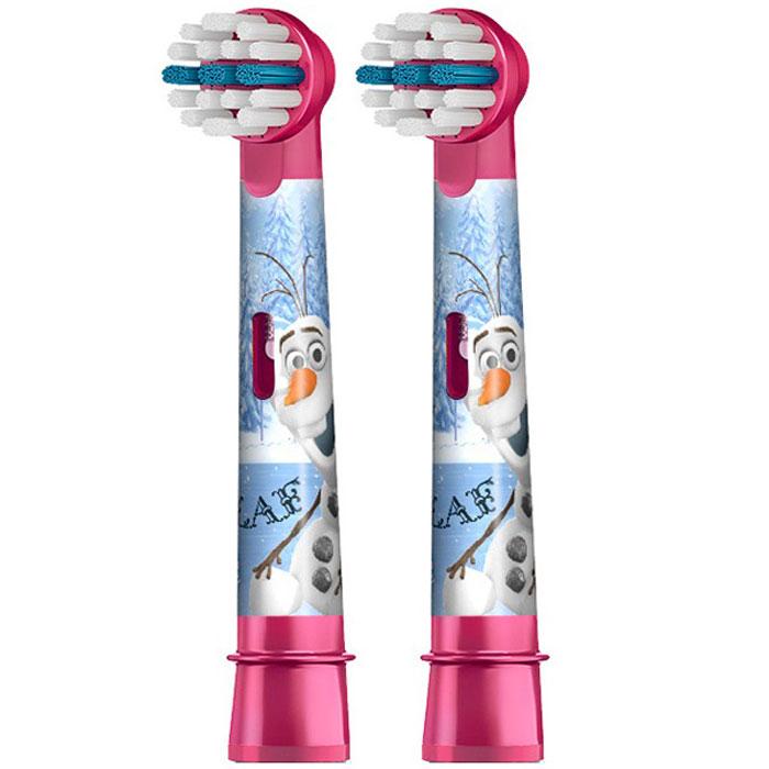 Oral-B сменные насадки для Vitality Kids Frozen, 2 шт80279918Oral-B – марка зубных щеток №1, рекомендуемая большинством стоматологов мира! Сменные насадки Vitality Kids Frozen для электрической щетки Oral-B Stages Power Kids с героями мультфильма Холодное сердце специально разработаны для маленьких детей и очищают зубы также эффективно, как и профессиональные стоматологические инструменты. Центральный ряд удлинённых щетинок создан для тщательной очистки жевательных поверхностей - проблемной зоны у многих детей. Мягкие щетинки и размер головки идеально подходят для маленьких зубов и детского рта.