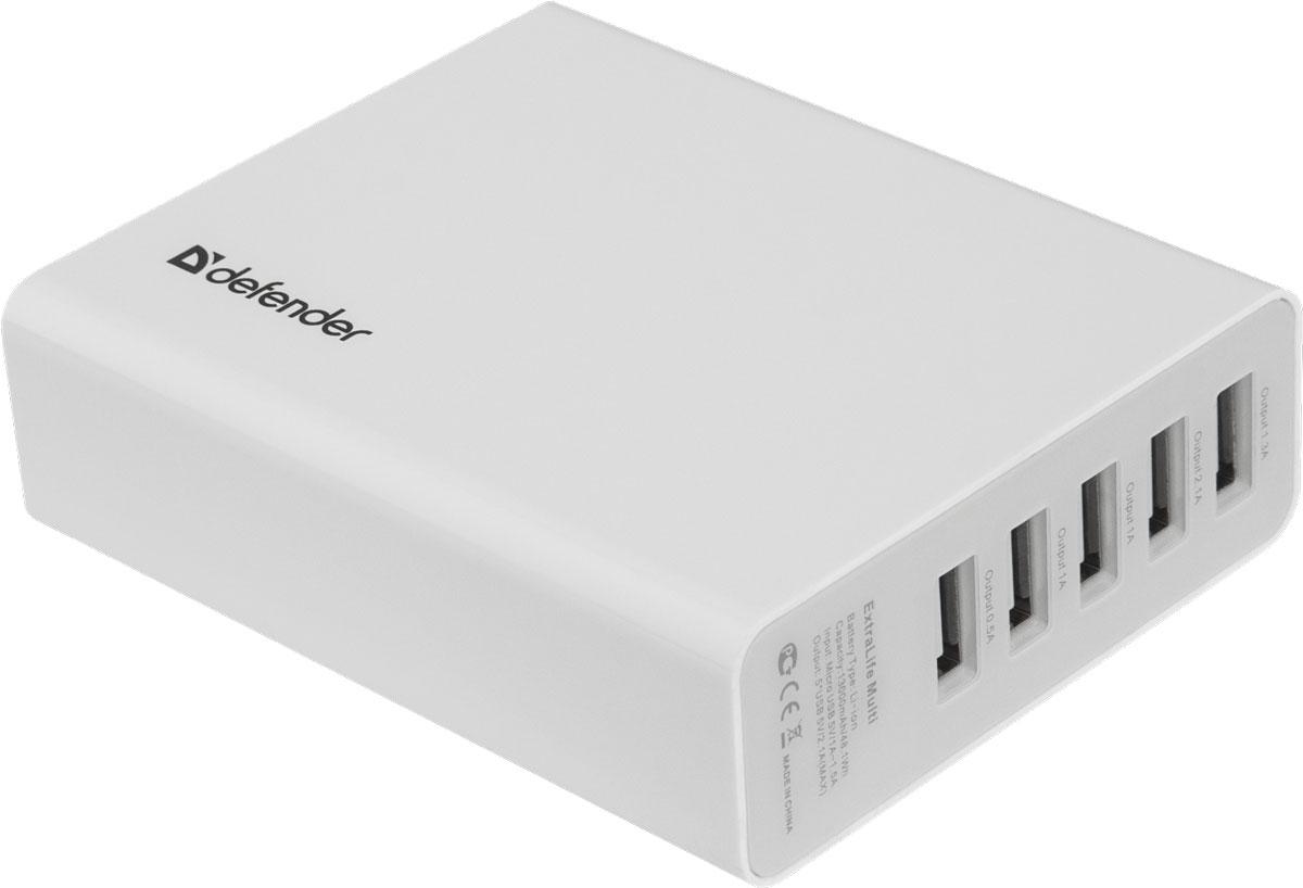 Defender ExtraLife Multi внешний аккумулятор (13000 мАч)83612Универсальный внешний аккумулятор Defender ExtraLife Multi совместим с большинством мобильных устройств. Пять USB-портов позволят вам заряжать несколько устройств одновременно. Защита от перегрузки и короткого замыкания поможет обезопасить заряжаемое устройство в случае возникновения каких-либо проблем в сети. Индикатор уровня заряда подскажет, когда необходимо подзарядить устройство. Defender ExtraLife Multi разработан специально для питания и заряда современных энергоемких USB-совместимых устройств, таких как сотовые телефоны и смартфоны, планшеты, гаджеты и портативная электроника. Емкость аккумулятора составляет 13000 мАч, также внешний аккумулятор оборудован токовой защитой USB-портов.