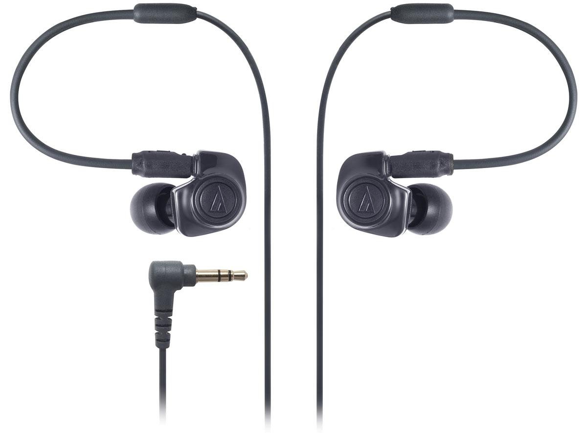 Audio-Technica ATH-IM50, Black наушники15117639Audio-Technica ATH-IM50 - мощные динамические наушники-вставки, с начинкой из двух симфонических излучателей (dual symphonic drivers). Наушники отличаются широкой звуковой сценой и хорошо проигрывают низкие частоты - все благодаря специально разработанной двухдрайверной системе, которая объединяет воедино два излучателя и в которой оба излучателя способны полноценно воспроизводить весь частотный диапазон, звуча параллельно друг другу и тем самым устраняя гармонические искажения друг друга. Съемный кабель, чехол и набор комфортных звукоизолирующих амбушюр в комплекте - приятные особенности модели.
