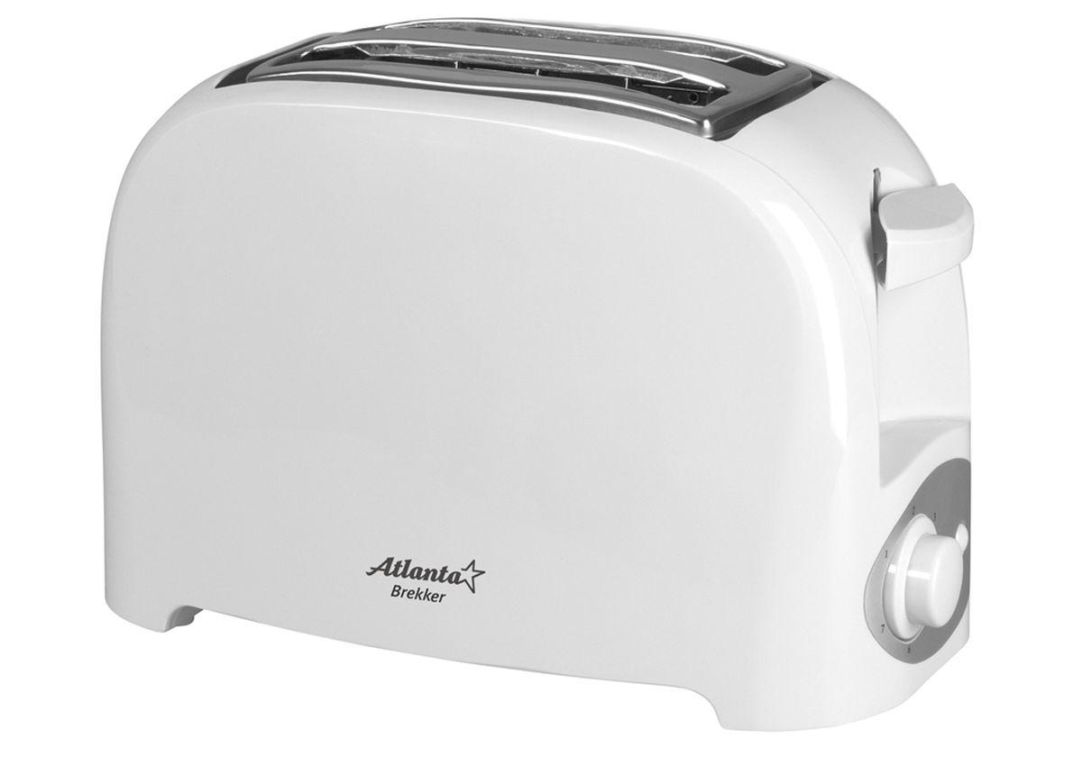 Atlanta ATH-233, White тостер77.858@24290На два ломтика хлеба Регулятор времени поджаривания Поддон для крошек Автоматическое отключение Защита от перегрева Удобное хранения шнура Мощность 750 Вт 230 В, 50 Гц 26.5 x 13.1 x 16 см
