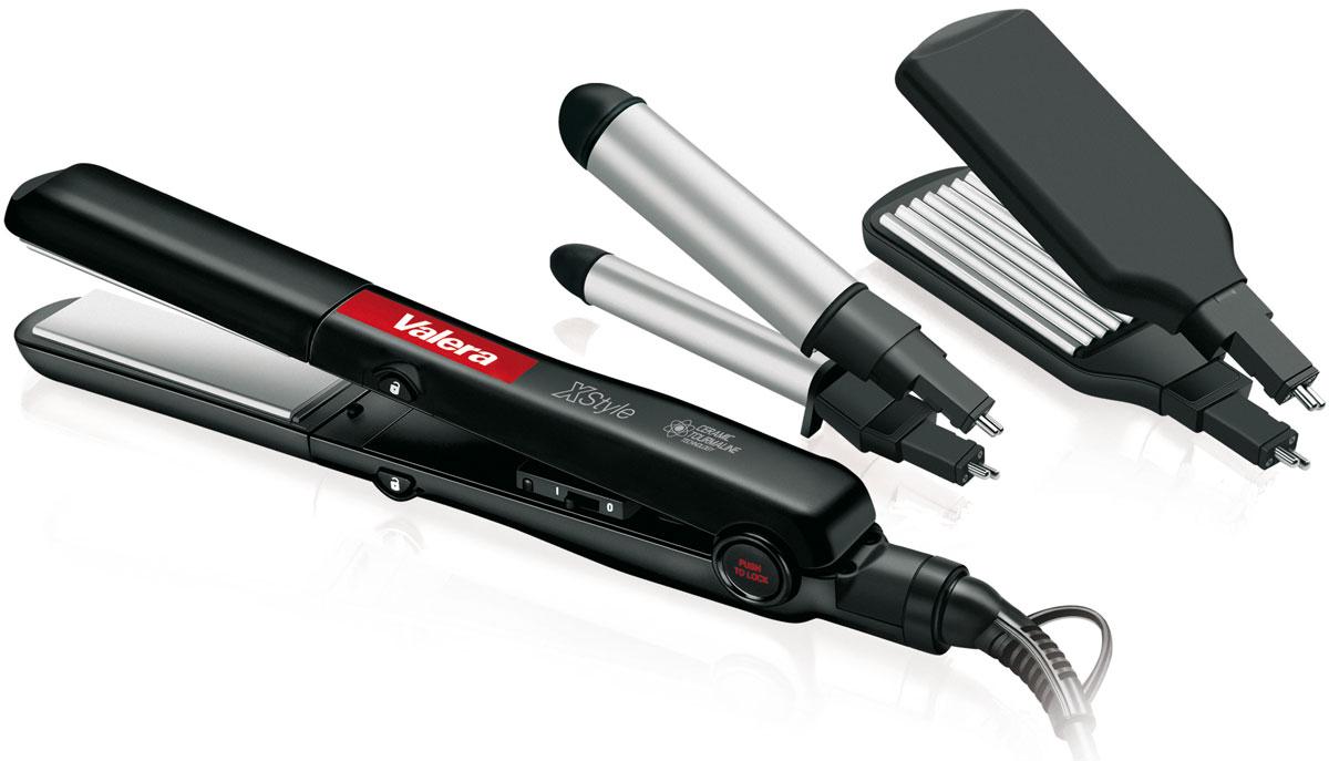 Valera 645.01 X-Style, Black набор для моделирования волос645.01Набор для моделирования волос Valera X-Style с керамическим покрытием пластин для бережного отношения к волосам и турмалиновой технологией для снятия статического напряжения с волос, чтобы сделать их более мягкими и послушными. В набор входят выпрямитель для волос, щипцы для завивки волос 19 мм и насадка для гофрирования волос.