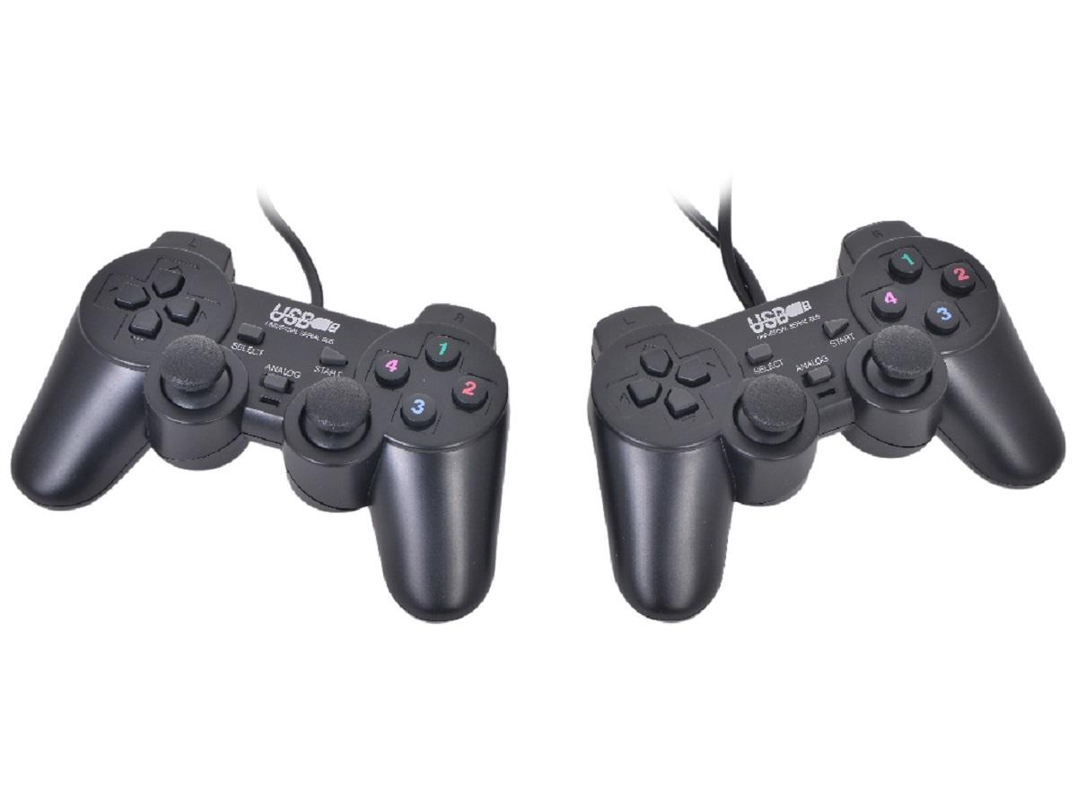 3Cott Double GP-02, Black геймпад141722Геймпад 3Cott Двойной GP-02 12 кнопок, вибрация, USB, черный