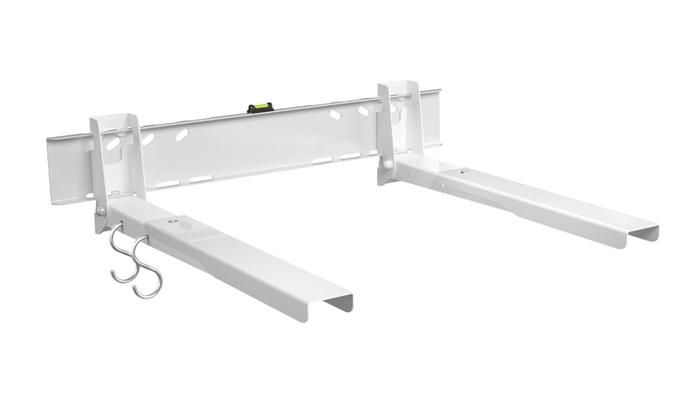 Holder MWS-U006-W, White кронштейн для СВЧMWS-U006-WМеталл ГОСТ 1050-80, усиленный с водяным уровнем и крючками для кухонной утвари