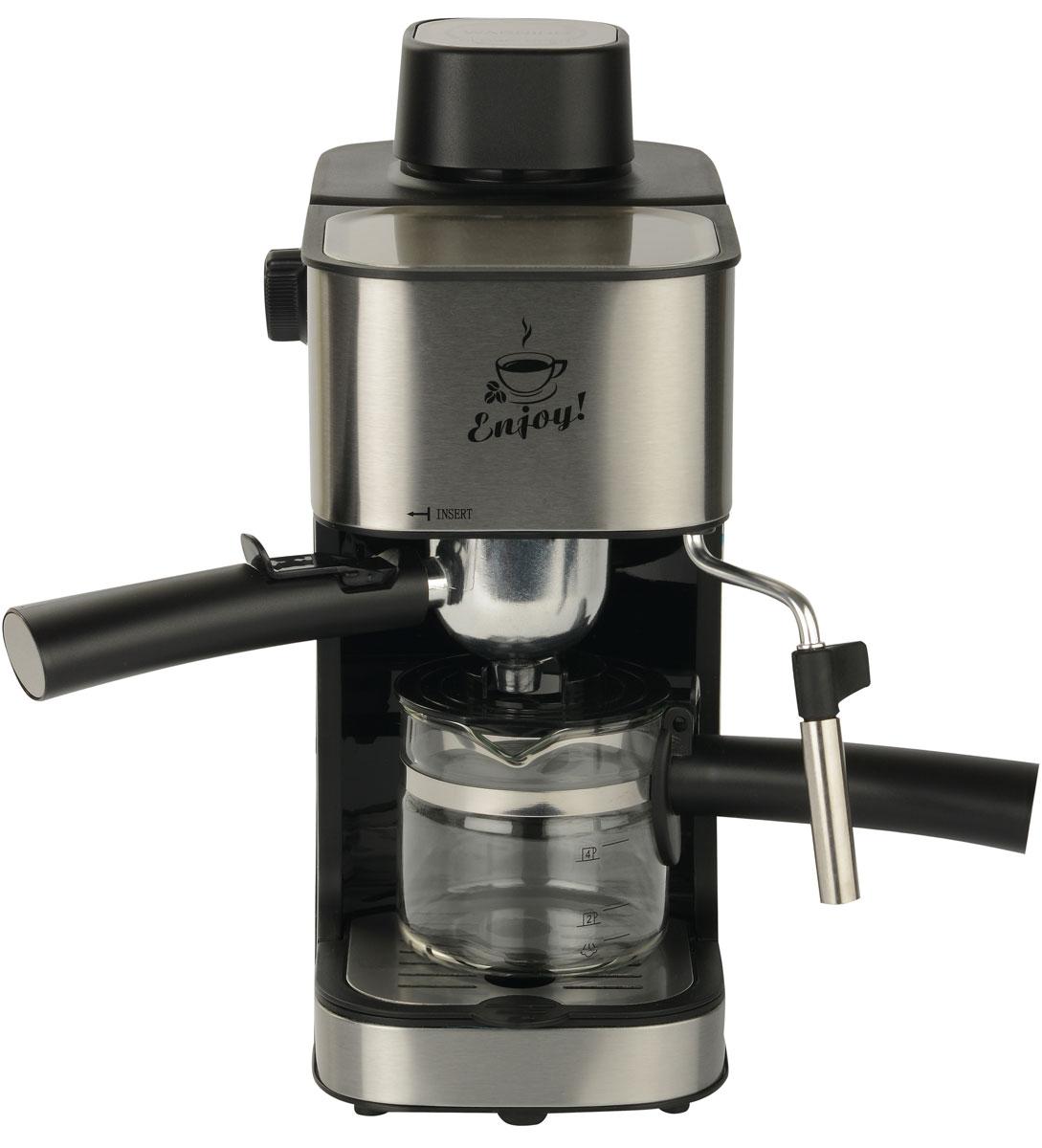 First FA-5475-2, Silver кофеваркаFA-5475-2 SteelFirst FA-5475-2 - превосходная рожковая кофеварка для приготовления ароматного эспрессо на каждый день. Данная модель оборудована насосной системой давления на 4 бар. Прибор оснащен съемным лотком для сбора капель и предохранительным клапаном для обеспечения комфортного использования. Также имеется светодиодный индикатор питания. Емкость кофеварки рассчитана на 4 чашки.
