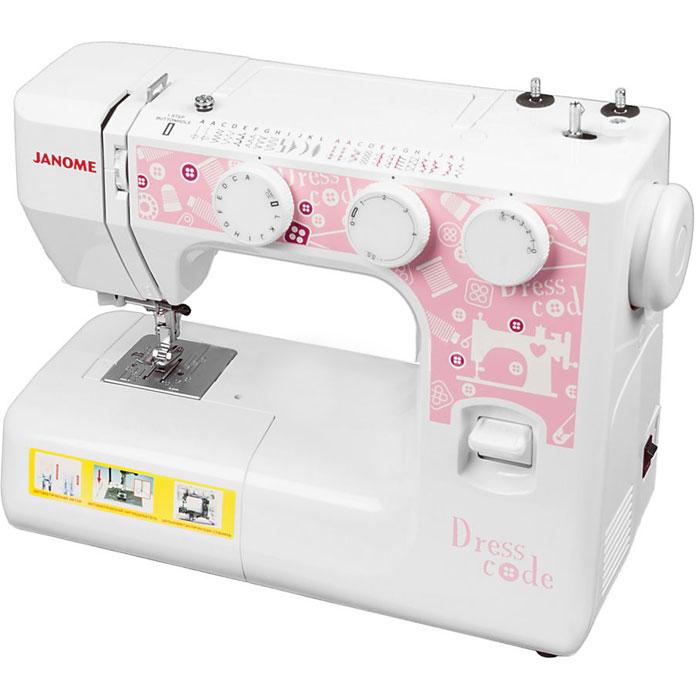 Janome Dresscode швейная машинаDresscodeJanome Dresscode - швейная машина для шитья и ремонта одежды. Она оборудована надежным вертикальным качающимся челноком, применяемым в бытовых швейных машинах уже многие десятилетия. Данная модель выполняет необходимый набор основных строчек. Среди них шитье зигзагом, которое широко используется для обметки, аппликации и пришивания пуговиц; трижды усиленный стежок, который рекомендуется для шитья эластичных тканей или трикотажа, и где нужна крепость и прочность шва; декоративная; эластичная и другие. Установить желаемую строчку можно с помощью поворота колеса, расположенного на корпусе машинки. Благодаря встроенной подсветке рабочей области можно комфортно работать даже в условиях слабой освещенности.