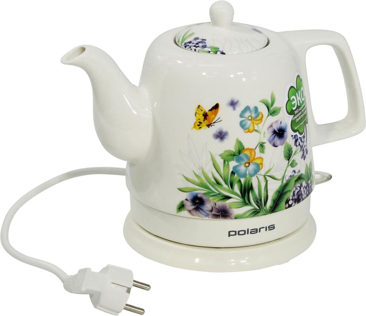 Polaris PWK 1299CCR Весна электрический чайникPWK 1299CCR_белыйPolaris PWK 1299CCR Весна - это керамический электрочайник с ярким дизайном. Корпус чайника декорирован эмалевой росписью с рисунком. Такой необычный подарок станет центром посиделок в кругу семьи. Корпус чайника выполнен из экологически чистой керамики, которая сохраняет полезные и вкусовые качества воды. Благодаря природным свойствам керамики кипяток дольше остается горячим. Данная модель оснащена встроенным скрытым нагревательным элементом. Это снижает образование накипи и упрощает очистку, продлевая тем самым срок службы чайника. Новинка оснащена автоматическим и ручным выключателем, индикаторной лампочкой и отсеком для хранения шнура. Прибор вращается на круглой подставке - базе на 360 градусов, поэтому вы без труда сможете повернуть его в любую сторону.
