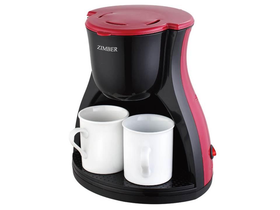 Zimber ZM-10980 кофеваркаZM-10980Кофеварка ZIMBER 10980-ZM , 2 чашки, 240 мл, черный-красный