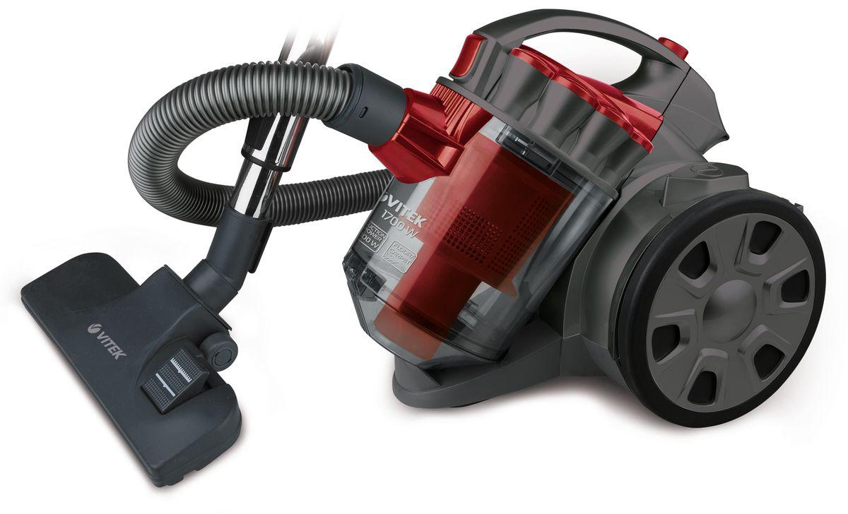 Vitek VT-1895(R) пылесосVT-1895(R)Пылесос Vitek VT-1895 предназначен для сухой уборки в помещениях с различными покрытиями. Прибор оснащен большим контейнером для сбора пыли. Такой пылесборник легко очистить - достаточно просто высыпать содержимое в мусорное ведро. Система Мультициклон обеспечивает максимальную мощность всасывания в процессе уборки.