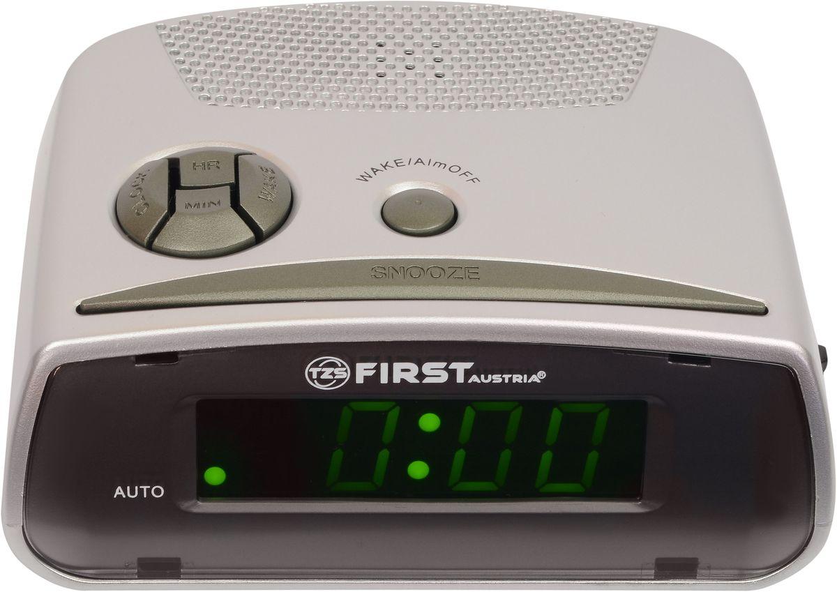 First FA-2410-GR цифровой будильникFA-2410-GRFirst FA-2410-GR - цифровой будильник с LED-дисплеем диагональю 0,6 дюйма. Устройство изготовлено из качественных материалов и позволит вам просыпаться вовремя без риска опоздать куда-либо. Вы также можете активировать отложенный сигнал чтобы поспать еще немного времени. Будильник отключится и прозвенит через 9 минут. Резервное питание: 1 батарейка 9В (в комплект не входит)