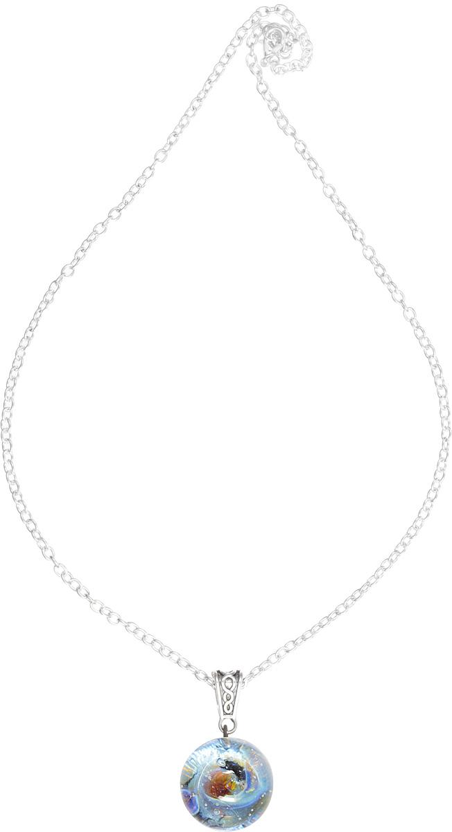 Кулон Lampwork Далекая Галактика. Ручная авторская работаPD500Кулон шар из прозрачного стекла с маленькой площадкой сзади. Внутри цветное объемное изображение. 2,5 см