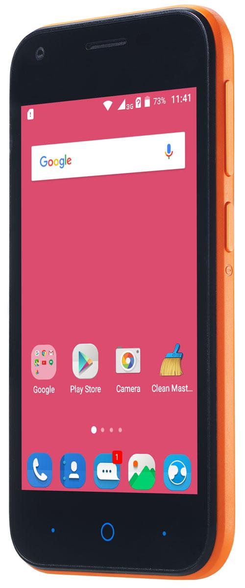 ZTE Blade L110, OrangeZTE-BLADE.L110.ORКомпактный корпус смартфона ZTE Blade L110 изготовлен из качественного текстурированного поликарбоната, который максимально неприхотлив в повседневном использовании и будет удобно лежать в руке. Управление смартфона ZTE Blade L110 осуществляется на базе операционной системы Android 5.1, которая комфортна и интуитивно доступна любому современному пользователю, а также обеспечивает стабильную работу любых доступных приложений. Четрырехъядерный процессор и до 1 ГБ оперативной памяти обеспечивают скорость в обработке повседневных задач и плавную работу приложений. Смартфон ZTE Blade L110 обладает слотом для установки двух SIM-карт – разделяйте личные и рабочие звонки, выбирайте удобные тарифы в поездках и пользуйтесь интернетом независимо от вашего места нахождения. Смартфон сертифицирован EAC и имеет русифицированный интерфейс меню и Руководство пользователя.