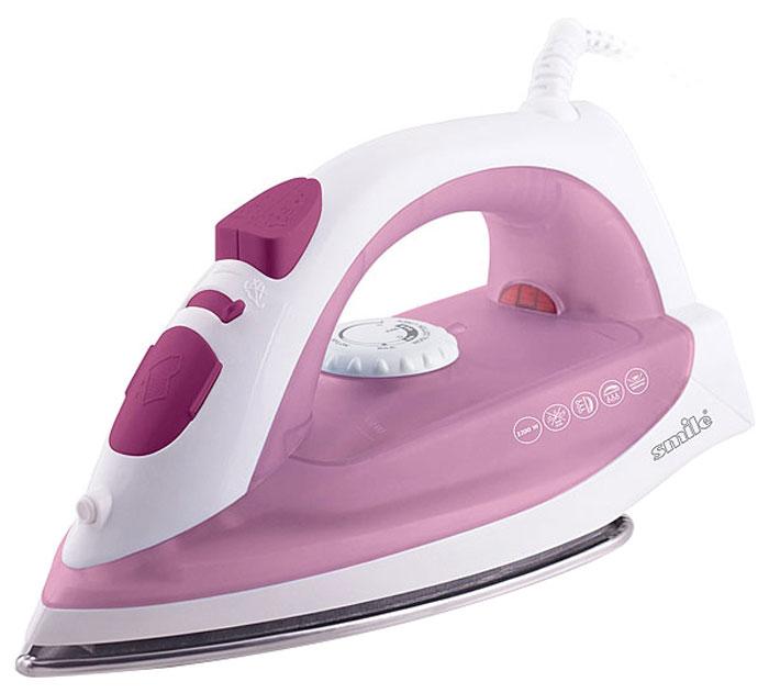 Smile SI 1814, White Pink утюгSI 1814Утюг Smile SI 1814 с пароувлажнением и плавной регулировкой температуры. Благодаря подошве из нержавеющей стали, утюг идеально скользит по ткани и без труда разглаживает даже самые сложные складки. Вместительный резервуар для воды обеспечивает долгую непрерывную работу с паром. Утюг имеет режим сухой глажки (подачу пара можно отключить).